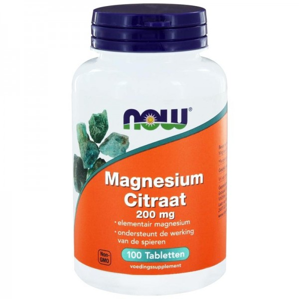 Magnesium Citraat 200mg NOW 100tab